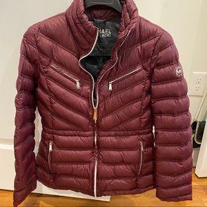 Michael Kors Lightweight Burgundy Puff Jacket